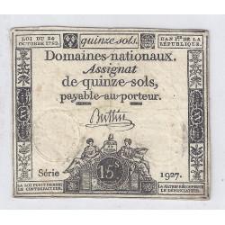 ASSIGNAT DE 15 SOLS - SERIE 1927 - 24/10/1792