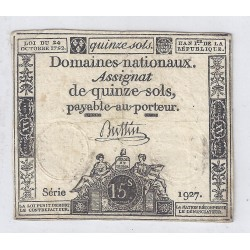 ASSIGNAT OF 15 SOLS - SERIE 1927 - 24/10/1792