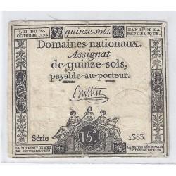 ASSIGNAT DE 15 SOLS - SERIE 1383 - 24/10/1792