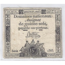 ASSIGNAT OF 15 SOLS - SERIE 1383 - 24/10/1792