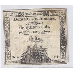 ASSIGNAT DE 15 SOLS - SERIE 1914 - 24/10/1792