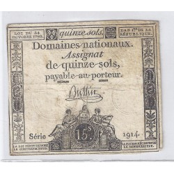 ASSIGNAT OF 15 SOLS - SERIE 1914 - 24/10/1792
