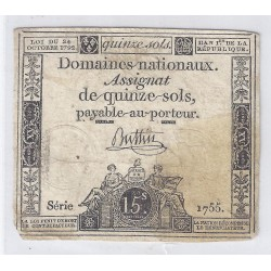 ASSIGNAT OF 15 SOLS - SERIE 1755 - 24/10/1792