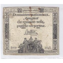 ASSIGNAT DE 15 SOLS - SERIE 1645 - 24/10/1792