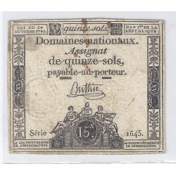ASSIGNAT OF 15 SOLS - SERIE 1645 - 24/10/1792
