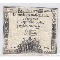 ASSIGNAT DE 15 SOLS - SERIE 875 - 24/10/1792