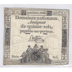 ASSIGNAT OF 15 SOLS - SERIE 875 - 24/10/1792