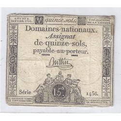 ASSIGNAT DE 15 SOLS - SERIE 1456 - 04/01/1792