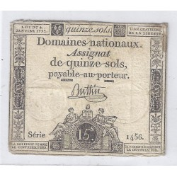 ASSIGNAT OF 15 SOLS - SERIE 1456 - 04/01/1792