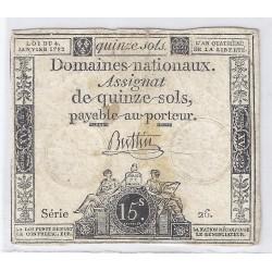 ASSIGNAT DE 15 SOLS - SERIE 26 - 04/01/1792