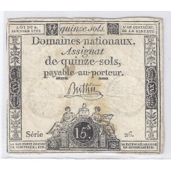 ASSIGNAT OF 15 SOLS - SERIE 26 - 04/01/1792