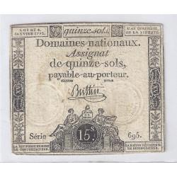 ASSIGNAT DE 15 SOLS - SERIE 695 - 04/01/1792