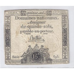 ASSIGNAT OF 15 SOLS - SERIE 695 - 04/01/1792
