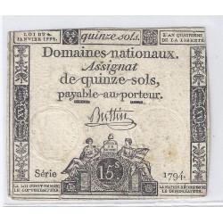 ASSIGNAT DE 15 SOLS - SERIE 1794 - 04/01/1792