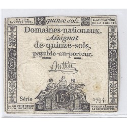 ASSIGNAT OF 15 SOLS - SERIE 1794 - 04/01/1792