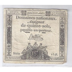 ASSIGNAT DE 15 SOLS - SERIE 1546 - 04/01/1792