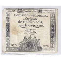 ASSIGNAT DE 15 SOLS - SERIE 1079 - 04/01/1792