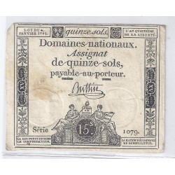 ASSIGNAT OF 15 SOLS - SERIE 1079 - 04/01/1792