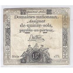 ASSIGNAT DE 15 SOLS - SERIE 233 - 04/01/1792