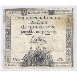ASSIGNAT OF 15 SOLS - SERIE 233 - 04/01/1792