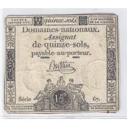 ASSIGNAT DE 15 SOLS - SERIE 67 - 04/01/1792