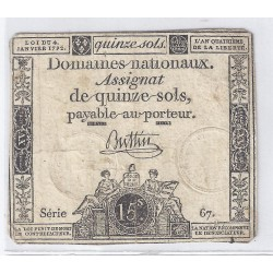 ASSIGNAT OF 15 SOLS - SERIE 67 - 04/01/1792