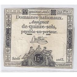 ASSIGNAT DE 15 SOLS - SERIE 1063 - 24/10/1792