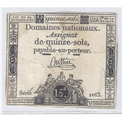 ASSIGNAT OF 15 SOLS - SERIE 1063 - 24/10/1792