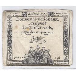 ASSIGNAT DE 15 SOLS - SERIE 145 - 04/01/1792