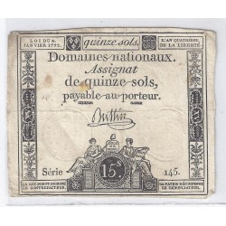 ASSIGNAT OF 15 SOLS - SERIE 145 - 04/01/1792