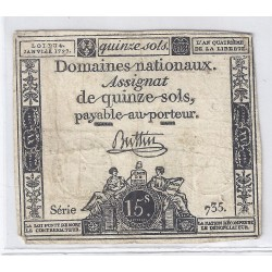 ASSIGNAT OF 15 SOLS - SERIE 735 - 04/01/1792