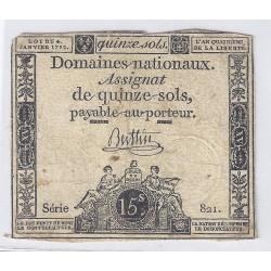 ASSIGNAT DE 15 SOLS - SERIE 821 - 04/01/1792