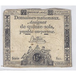 ASSIGNAT OF 15 SOLS - SERIE 821 - 04/01/1792