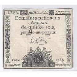 ASSIGNAT DE 15 SOLS - SERIE 1958 - 04/01/1792