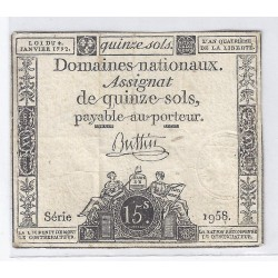 ASSIGNAT OF 15 SOLS - SERIE 1958 - 04/01/1792