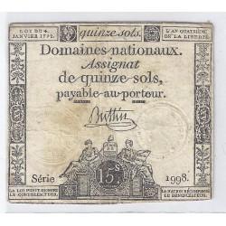 ASSIGNAT DE 15 SOLS - SERIE 1998 - 04/01/1792