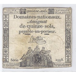 ASSIGNAT OF 15 SOLS - SERIE 1998 - 04/01/1792