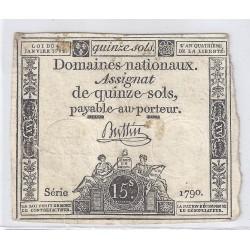 ASSIGNAT DE 15 SOLS - SERIE 1790 - 04/01/1792