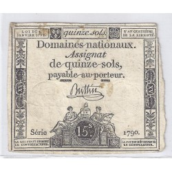 ASSIGNAT OF 15 SOLS - SERIE 1790 - 04/01/1792