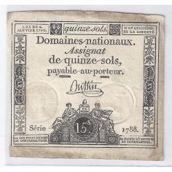 ASSIGNAT DE 15 SOLS - SERIE 1788 - 04/01/1792