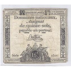 ASSIGNAT DE 15 SOLS - SERIE 1511 - 04/01/1792