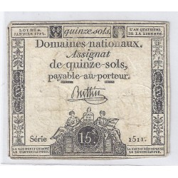 ASSIGNAT OF 15 SOLS - SERIE 1511 - 04/01/1792