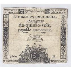 ASSIGNAT DE 15 SOLS - SERIE 981 - 24/10/1792