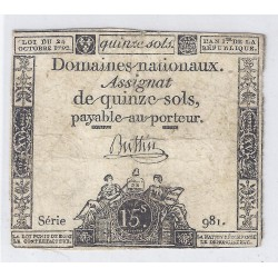 ASSIGNAT OF 15 SOLS - SERIE 981 - 24/10/1792