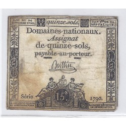 ASSIGNAT OF 15 SOLS - SERIE 1790 - 24/10/1792