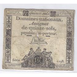 ASSIGNAT DE 15 SOLS - SERIE 1198 - 04/01/1792