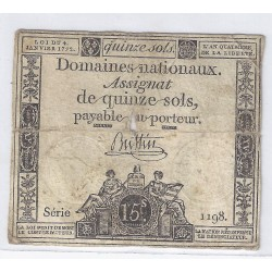 ASSIGNAT OF 15 SOLS - SERIE 1198 - 04/01/1792