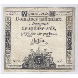 ASSIGNAT DE 15 SOLS - SERIE 955 - 04/01/1792
