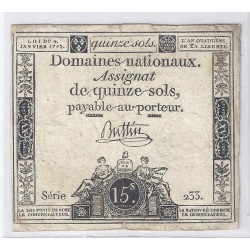 ASSIGNAT OF 15 SOLS - SERIE 955 - 04/01/1792