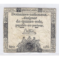 ASSIGNAT OF 15 SOLS - SERIE 1735 - 04/01/1792